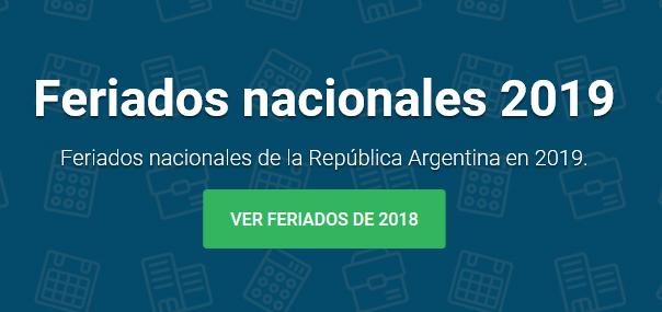 Feriados nacionales 2019.